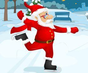 Old man wearing christmas costume skating vector