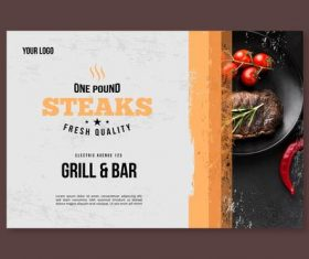One pound steaks restaurant flyer vector