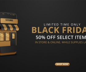 Online promotion black friday flyer vector