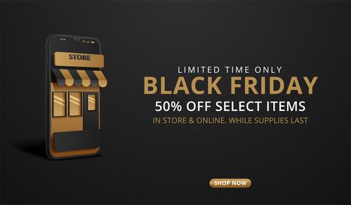 Online promotion black friday flyer vector