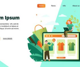 Online shopping flat illustration design landing page vector
