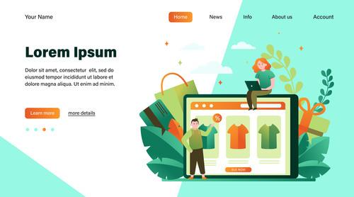 Online shopping flat illustration design landing page vector