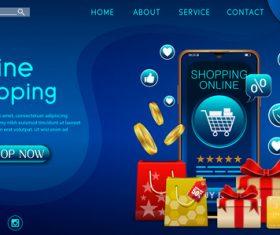 Online store vector on mobile app
