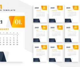 Orange and black 2021 calendar vector