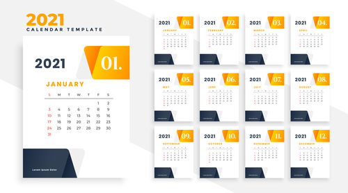 Orange and black 2021 calendar vector
