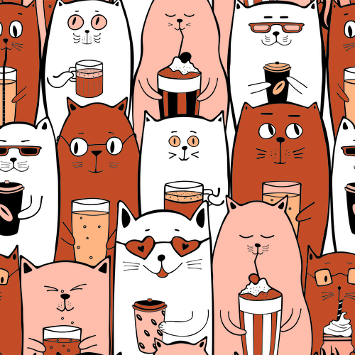 Orange and white cats with coffee drinks seamless pattern vector