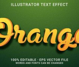 Orange editable font effect text vector on green background