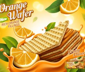 Orange wafer advertising vector