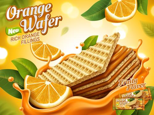 Orange wafer advertising vector