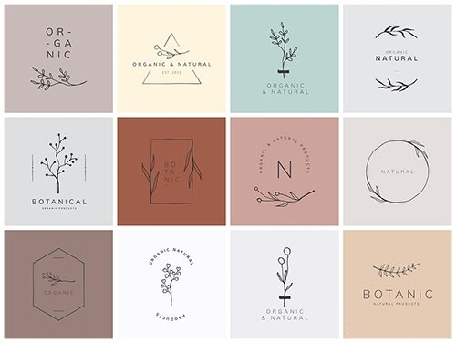 Organic product brand logo vector collection