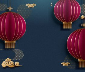 Oriental elements new year flyer vector