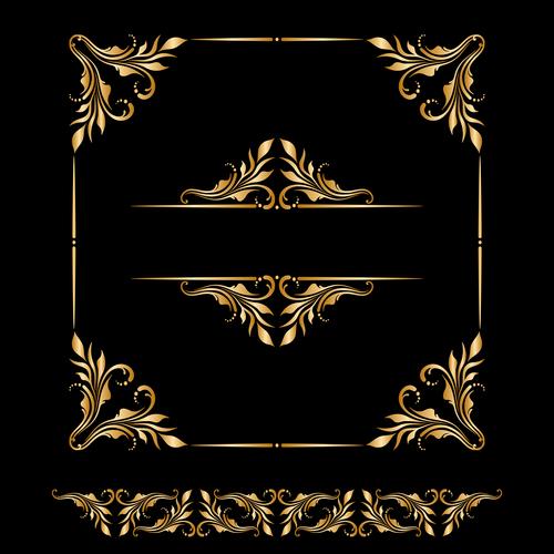 Ornament element frame design vector