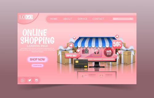 Page login e commerce illustration vector