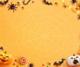 Painted balloons pumpkins bats halloween card vector