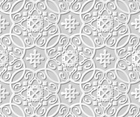 Paper cut 3D flower pattern white vector