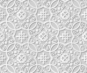 Paper cut 3D flower pattern white vector