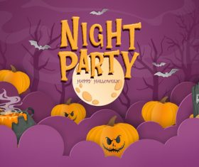 Paper cut halloween illustration vector