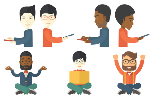 People communicating cartoon vector