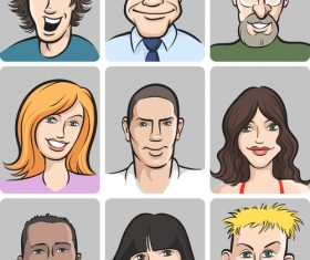 People faces collection vector