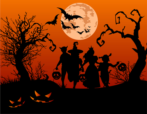 People silhouettes participating in Halloween party vector