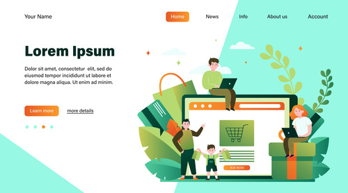 People who like online shopping illustration vector