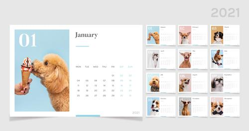 Pet cover 2021 calendar vector