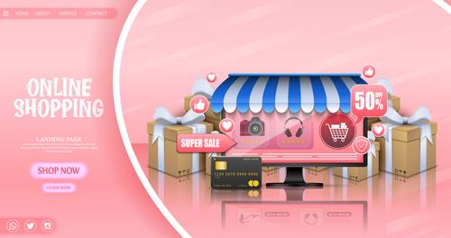 Pink background online store page login illustration vector