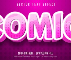 Pink editable font effect text vector