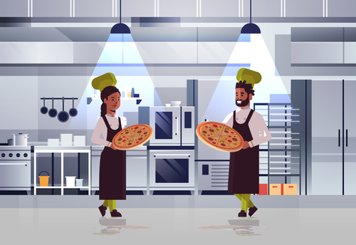 Pizza pastry chef vector