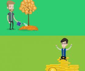 Planting money tree flat design vector