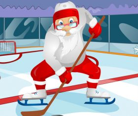 Playing ice hockey santa claus vector