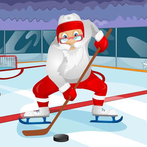Playing ice hockey santa claus vector