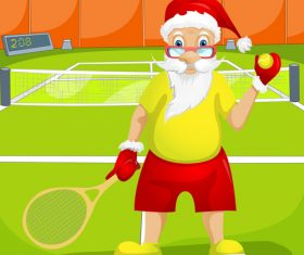 Playing tennis santa claus vector