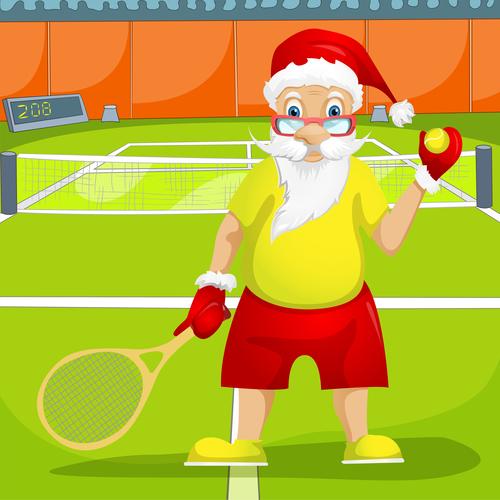 Playing tennis santa claus vector