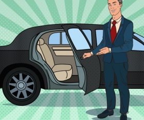 Please get in the car cartoon vector
