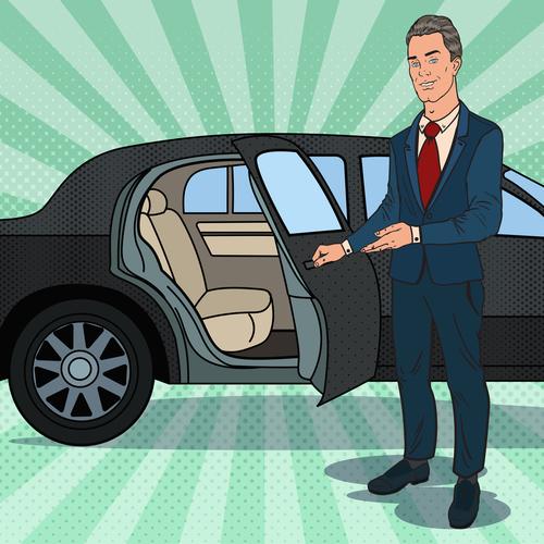 Please get in the car cartoon vector