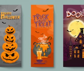 Poison and pumpkin haunted house halloween banner illustration vector