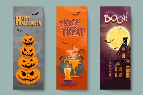 Poison and pumpkin haunted house halloween banner illustration vector
