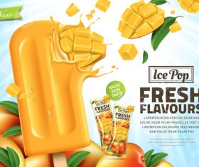 Pop fresh pineapple flavours advertising vector