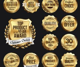 Premium gold badge label vector