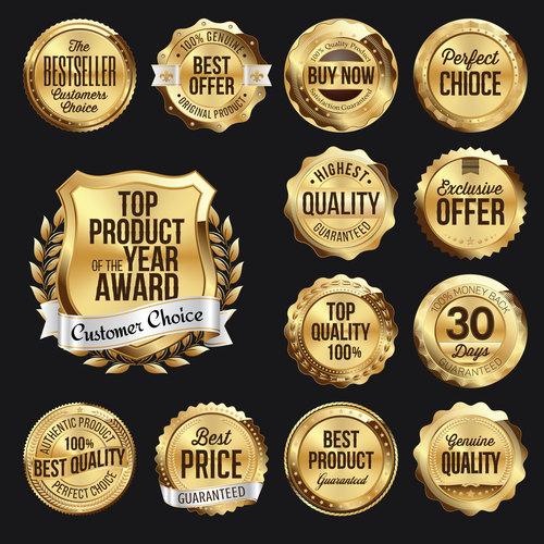Premium gold badge label vector