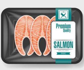 Premium quality salmon vacuum preservation plastic container vector