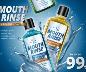 Prevents cavities mouth rinse advertising vector