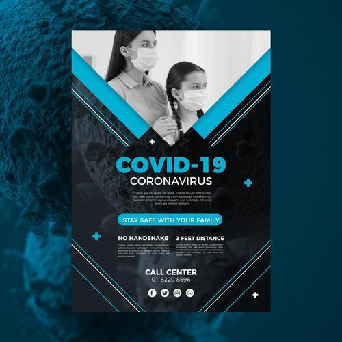 Protect your child coronavirus flyer vector