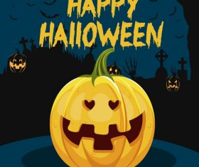 Pumpkin and graveyard background halloween illustration vector