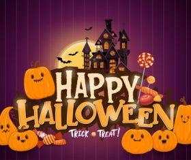 Pumpkin candy and haunted house background halloween illustration vector