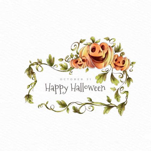 Pumpkin of autumn leaves christmas card vector