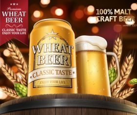 Pure wheat beer advertising vector