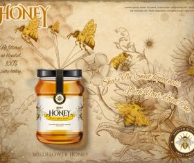 Pure wild honey in glass jar advertising vector