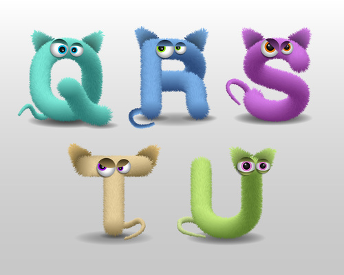 Q fur monster alphabet vector